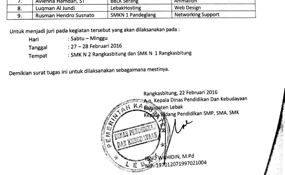 LebakHosting Juri LKS Web Design se-Kabupaten Lebak
